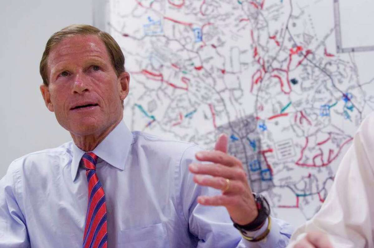 U.S. Sen. Richard Blumenthal answers questions during a press conference at the Ridgefield Operations Center in Ridgefield on Wednesday, Aug. 31, 2011.