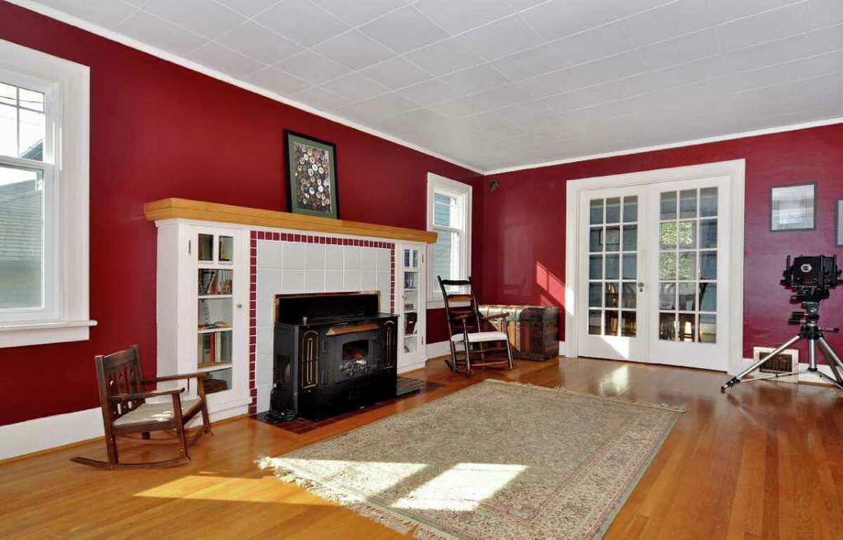 Living room with French doors to dining room.