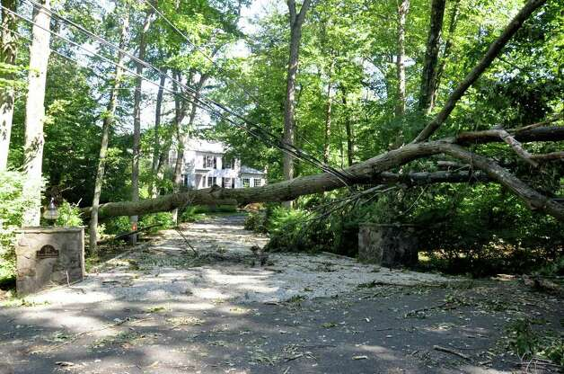 A fallen tree and downed wires block the driveway of a Stonybrook Road home on Tuesday, Aug. 30, 2011 following tropical storm Irene. Photo: Amy Mortensen / Connecticut Post Freelance