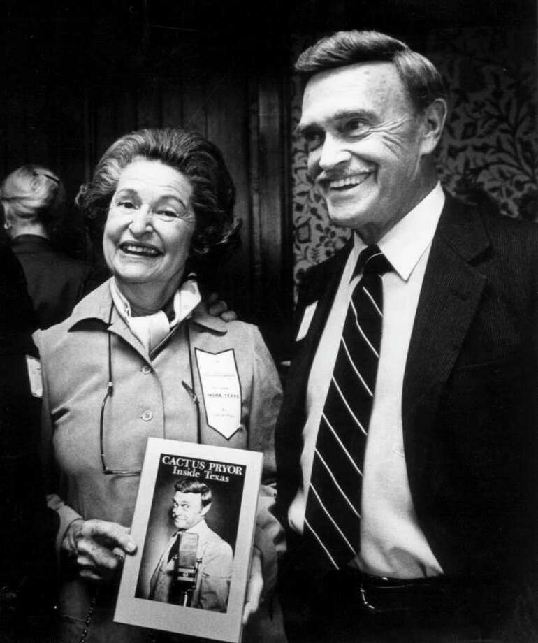 "In this Nov. 3, 1982 photo, Lady Bird Johnson helps Cactus Pryor celebrate the final arrival of his new book ""Inside Texas"" at the Headliners Club atop the American Bank building, in Austin, Texas. Richard ""Cactus"" Pryor, a longtime Texas broadcaster, humorist and author, has died following surgery for a broken leg. His daughter, Kerry Guthrie, says Pryor died Tuesday, Aug. 30, 2011 at an Austin hospice facility. He was 88. (AP Photo/Austin American-Statesman, Ralph Barrera)  MAGS OUT; NO SALES; TV OUT; INTERNET OUT; AP MEMBERS ONLY Photo: Ralph Barrera, MBR / Austin American-Statesman"