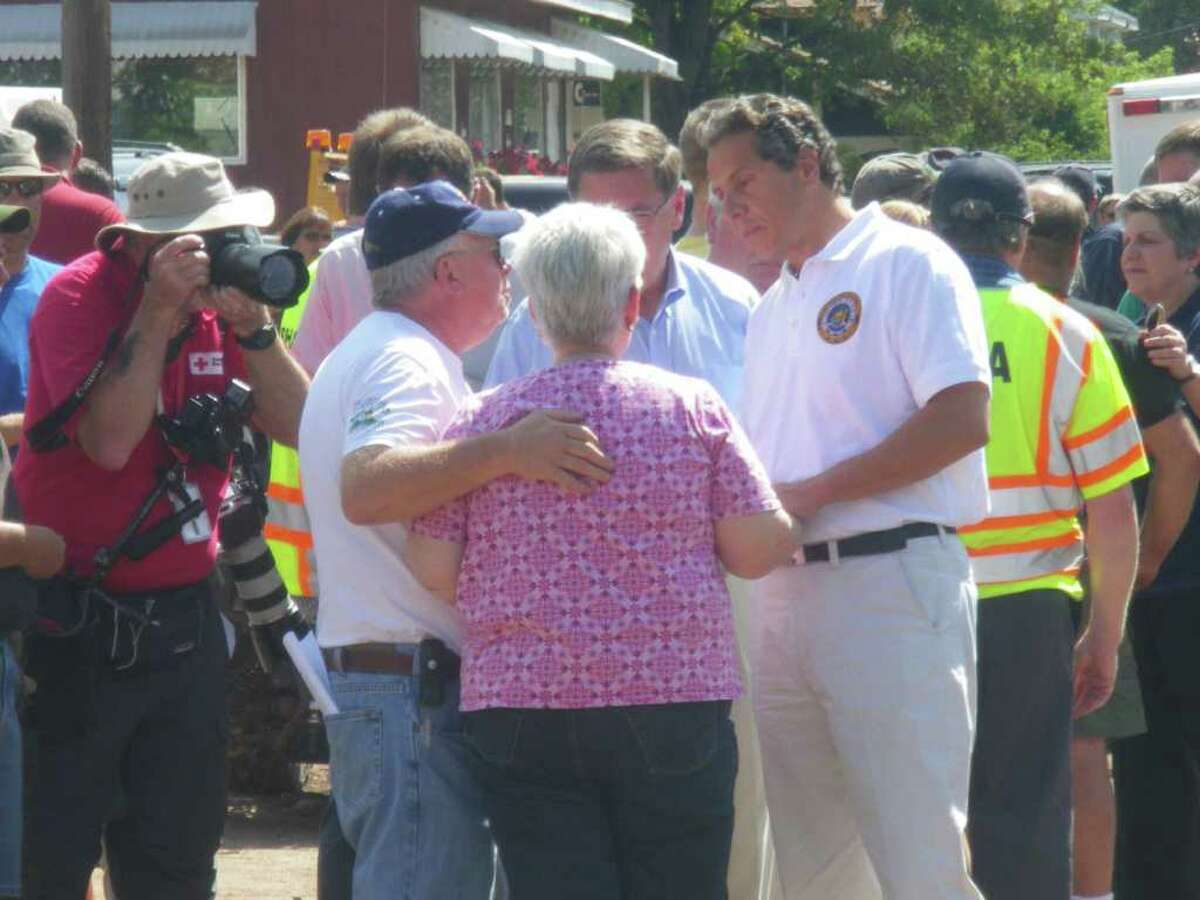 Richard and Emily Morse greet Gov. Andrew Cuomo, who visited the Greene County > community of Prattsville with federal disaster relief officials on Wednesday. > (Jimmy Vielkind / Times Union)