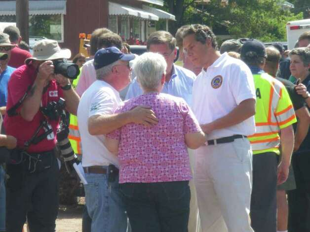 Richard and Emily Morse greet Gov. Andrew Cuomo, who visited the Greene County 