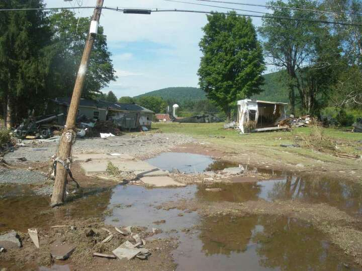 A trailer park in Prattsville, N.Y., was wiped away in flooding related to 