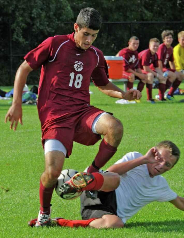 Scotia's Chris Alecio, #18, takes the ball back during a scrimmage against Niskayuna in Niskayuna, N.Y. on Wednesday, Aug. 31, 2011.  (Lori Van Buren / Times Union) Photo: Lori Van Buren