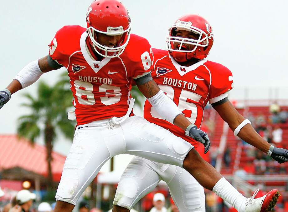 Houston wide receivers Patrick Edwards, left, and Tyron Carrier are both considered short for their position. Neither stands taller than 5-9.