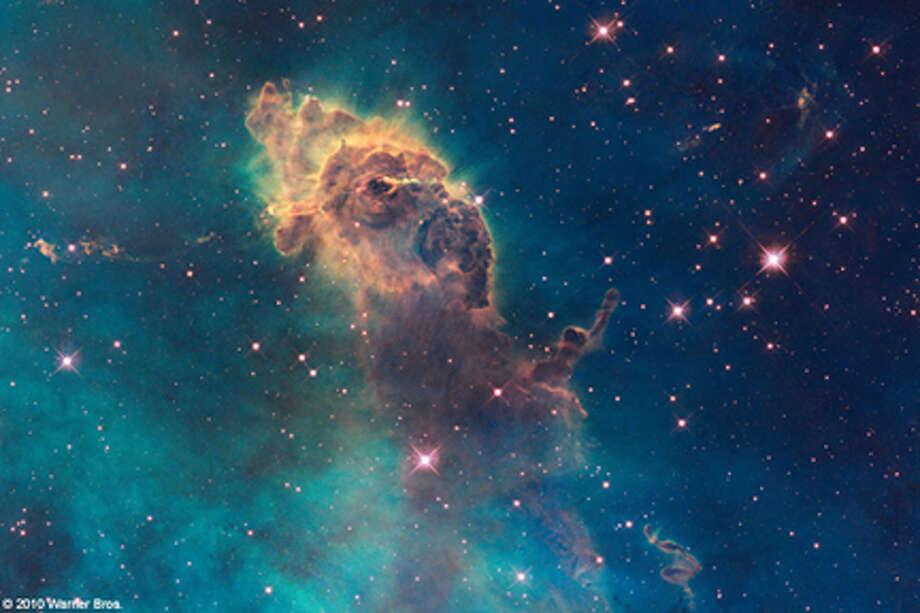 """A stellar jet in the Carina Nebula in """"Hubble 3D."""""""