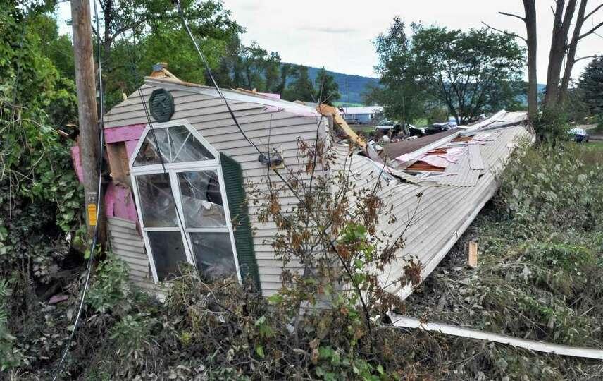 A storm destroyed mobile home on Rt. 30 in Middleburgh Thursday Sept. 1, 2011.   (John Carl D'Ann