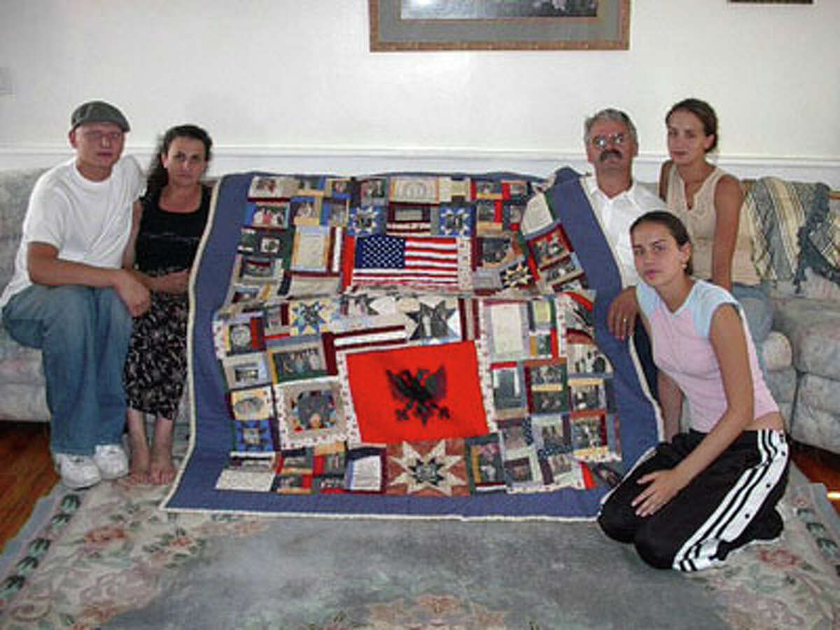 Lisa Corson of Bristol made a quilt for Lisabeta Deduvkaj, whose brother, Simon, was killed in the 9/11 attacks. The quilt features photographs of Simon throughout his life as well as personal poems, drawings and diary entries from his surviving family members.