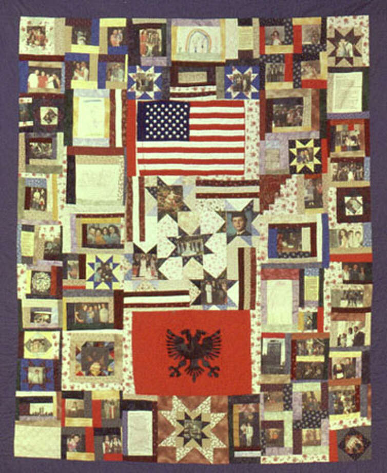 Lisa Corson of Bristol made a quilt for Lisabeta Deduvkaj, whose brother, Simon, was killed in the 9/11 attacks. The quilt features photographs of Simon throughout his life as well as personal poems, drawings and diary entries from his surviving family members. Photo: Contributed Photo / Connecticut Post Contributed