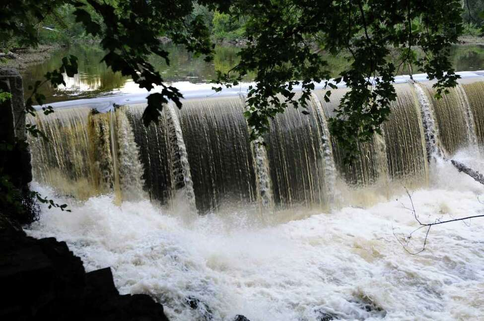 The raised flap, left, of the Poesten Kill Dam is the area of concern on Thursday, Sept. 1, 2011, in Troy, N.Y. (Cindy Schultz / Times Union)