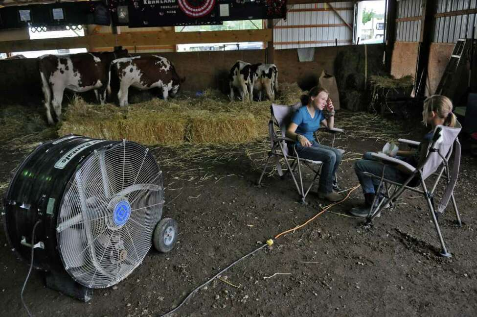 A fan dries out the 4-H cattle barn, as well as keeping it cool, as Mackenzie Cichy of the town of Florida, 12, left, talks with her friend Kendall Kennedy of Fort Plain, 11, while sitting near Kendall's family's cows in the 4-H Cattle barn at the Montgomery County Agricultural Society's Fonda Fair just a few hours before the 5 pm start of the annual fair on Thursday Sept. 1, 2011, in Fonda, NY. Many volunteers helped clean up the fairgrounds from the flood damage inflicted by Tropical Storm Irene. The fair was shortened by two days due to the storm. (Philip Kamrass / Times Union)