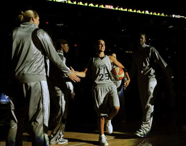 Becky Hammon of the San Antonio Silver Stars (25) is introduced prior to the team's WNBA game against the Phoenix Mercury at the AT&T Center on Thursday, Sept. 1, 2011. BILLY CALZADA / gcalzada@express-news.net  Phoenix Mercury at San Antonio Silver Stars Photo: BILLY CALZADA, Express-News / gcalzada@express-news.net