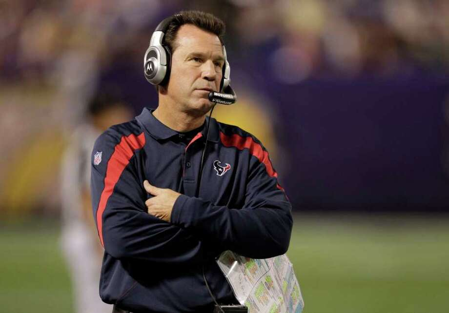 Houston Texans head coach Gary Kubiak walks along the sidelines during the fourth quarter of an NFL preseason football game against the Minnesota Vikings at the Hubert H. Humphrey Metrodome Thursday, Sept. 1, 2011, Minneapolis. Photo: Brett Coomer, Houston Chronicle / © 2011 Houston Chronicle