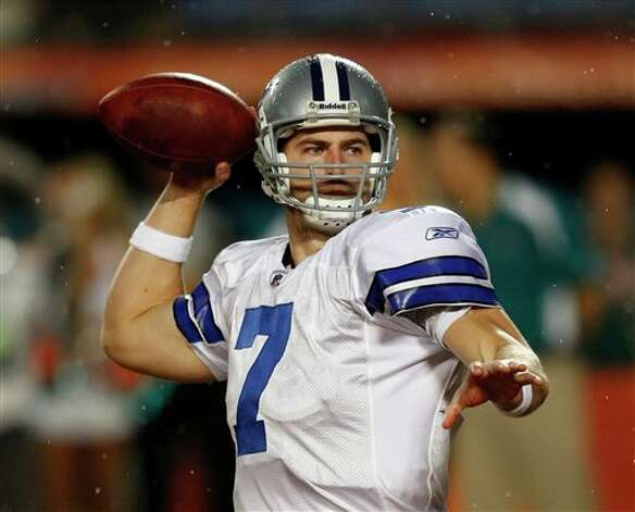 Dallas Cowboys quarterback Stephen McGee (7)  looks to pass during the first half of an NFL pre season football game against the Miami Dolphins, Thursday, Sept. 1, 2011, in Miami. (AP Photo/Wilfredo Lee) Photo: Wilfredo Lee, Associated Press / AP