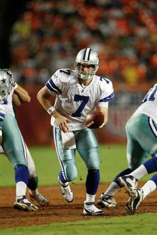Dallas Cowboys quarterback Stephen McGee (7) looks to pass during the first half of an NFL pre season football game against the Miami Dolphins, Thursday, Sept. 1, 2011, in Miami. (AP Photo/Hans Deryk) Photo: Hans Deryk, Associated Press / FR15679 AP