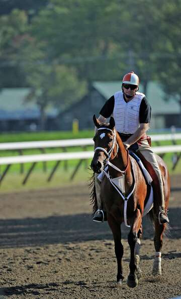 Havre De Grace with her trainer Larry Jones aboard gets her first look at Saratoga Race Course this