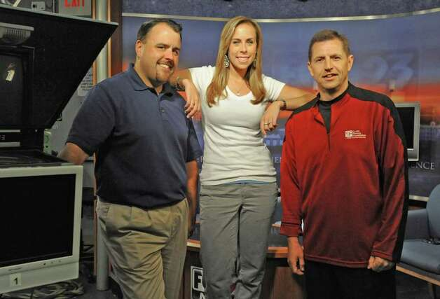 From left, Scott Morlock, Dani Stein and Rich Becker in a studio at Fox-23 studios in Albany, N.Y. on Tuesday , Aug. 30, 2011.  (Lori Van Buren / Times Union) Photo: Lori Van Buren