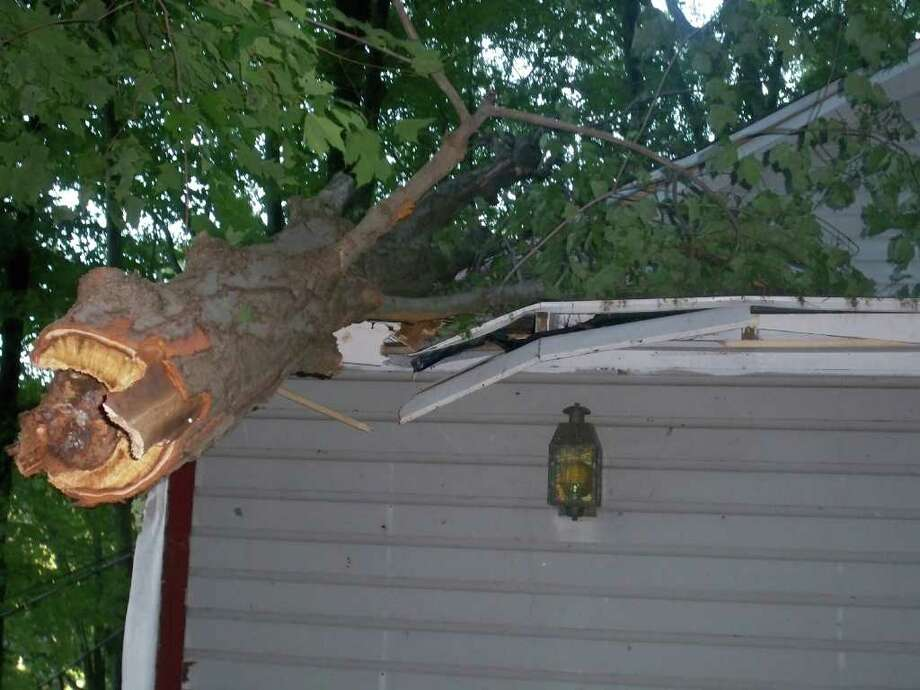 "User-submitted photo of damage from Hurricane Irene.  Submitted by DRP ""Roof damage"" Photo: Contributed"