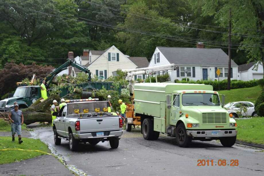 """User-submitted photo of damage from Hurricane Irene.  Submitted by MIkey 55 """"Danbury Forestry Dept. Removing down tree Virgina Ave. & 1st.Street."""" Photo: Contributed"""