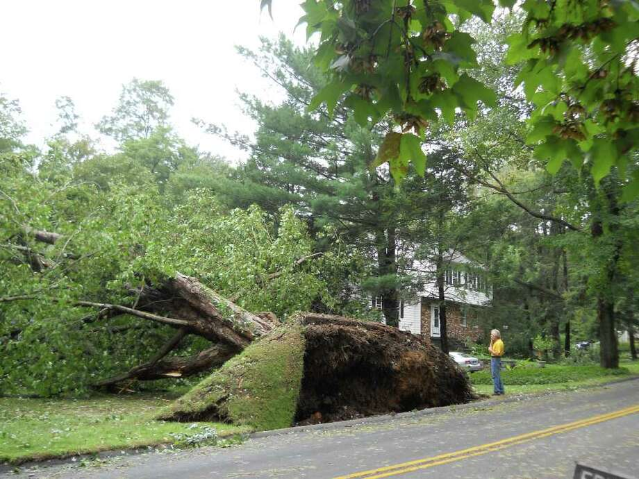 "User-submitted photo of damage from Hurricane Irene.  Submitted by Pam ""Tree at what used to be my in-laws' house on Great Plain Road in Danbury.Have many more shots,hard to tell there's a house under the mess in most"" Photo: Contributed"