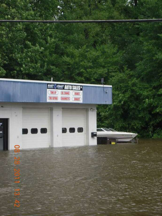 """User-submitted photo of damage from Hurricane Irene.  Submitted by mrsashko """"Auto or Boat Sale?(Federal rd)"""" Photo: Contributed"""