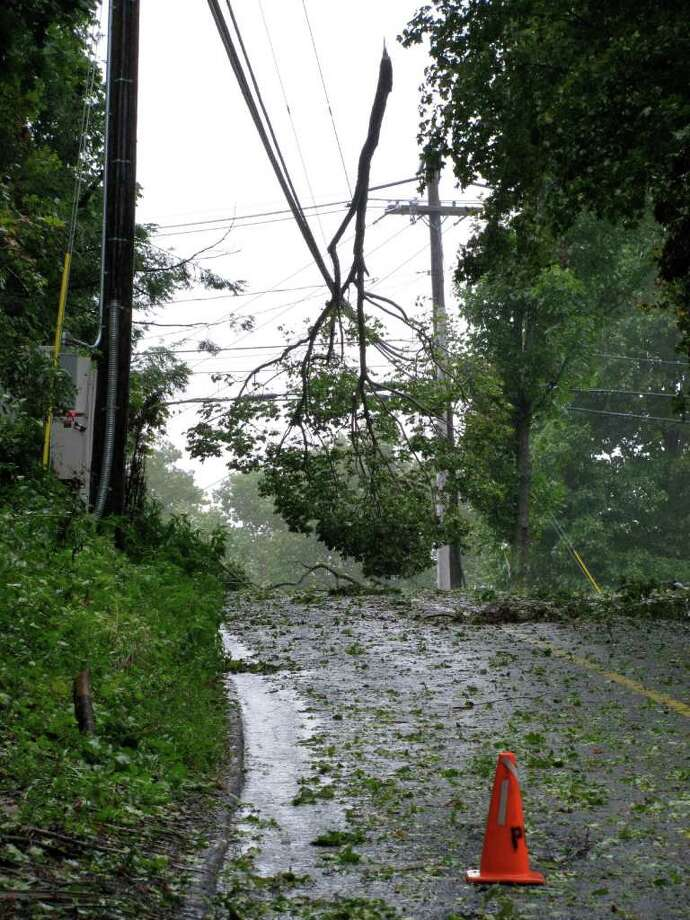 "User-submitted photo of damage from Hurricane Irene.  Submitted by Chris ""Signal Hill Rd. near the intersection of Long Meadow Hill Rd. in Brookfield."" Photo: Contributed"