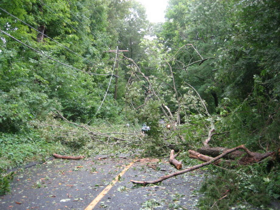 "User-submitted photo of damage from Hurricane Irene.  Submitted by Steve Golden ""Further down Plumtrees were several smaller tree limbs that cut phone lines to the the neighboring streets for 4+ days (still no phone service as of this writing)"" Photo: Contributed"