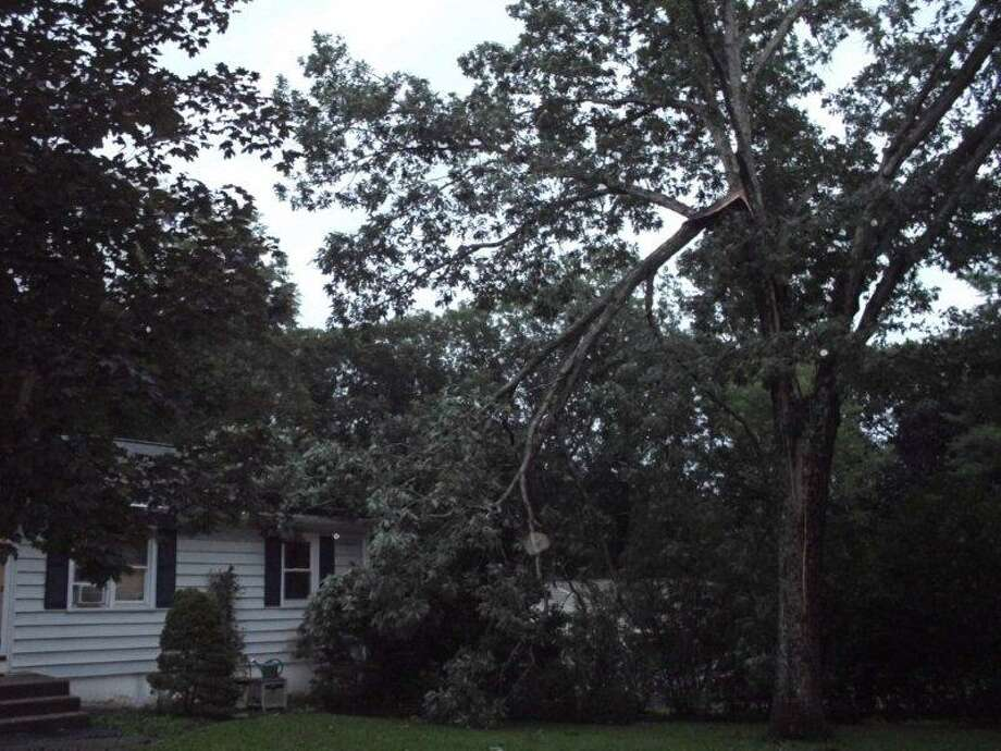 "User-submitted photo of damage from Hurricane Irene.  Submitted by VcMcKee ""tree breakage"" Photo: Contributed"