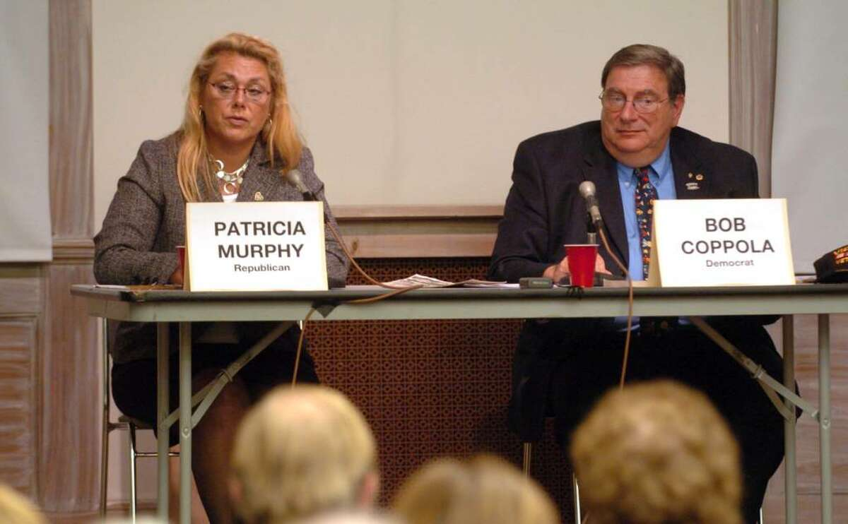 New Milford Mayor Pat Murphy and Democratic canidate Robert Coppola debate at the New Milford Library Thursday, Oct. 15, 2009.