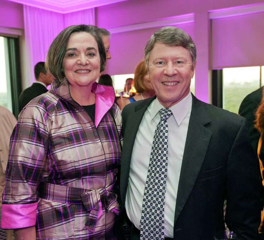 Society coverage of the VIP reception for Circue du Houston, the annual World Trade Soiree benefiting the Greater Houston Partnership. Hotel ZaZa, 5701 Main. L-R ID: Gwen Emmett; Harris Co. Judge Ed Emmett Saturday, August 27, 2011. (Craig H. Hartley/Chronicle) Photo: Craig Hartley / Copyright: Craig H. Hartley