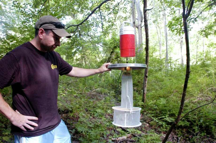 In this August 2008 file photo, Ed Calandrella examines a mosquito trap behind the Eastern Greenwich Civic Center. This year, West Nile virus-infected mosquitoes have been found at all three Greenwich trapping stations. Photo: File Photo / Greenwich Time File Photo