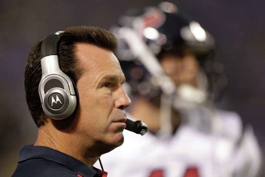 With Peyton Manning likely to miss games, Gary Kubiak and the Texans are now favored by many to win the AFC South. Photo: Brett Coomer, Houston Chronicle / © 2011 Houston Chronicle