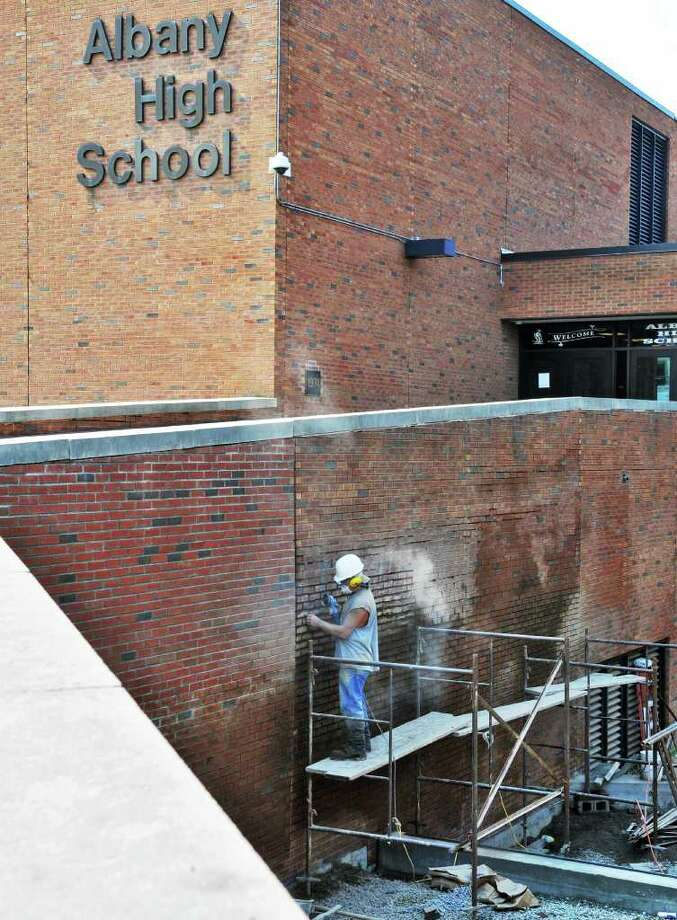 Work being done at the entrance to Albany High School Friday Aug. 19, 2011.   (John Carl D'Annibale / Times Union) Photo: John Carl D'Annibale / 00014337A