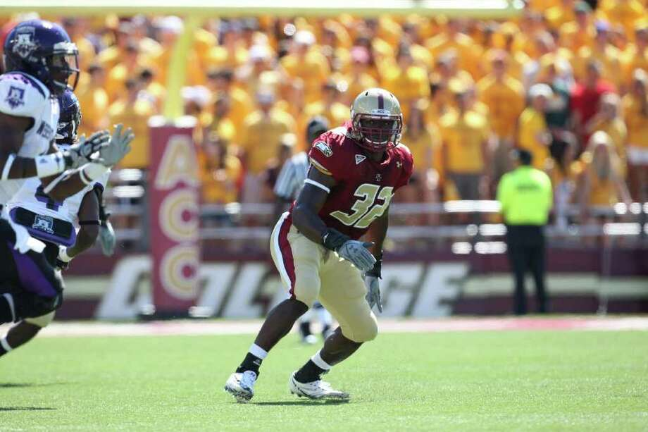 King School graduate Kevin Pierre-Louis will start at weakside linebacker for the Boston College Eagles in 2011. Photo: Boston College/Contributed Photo