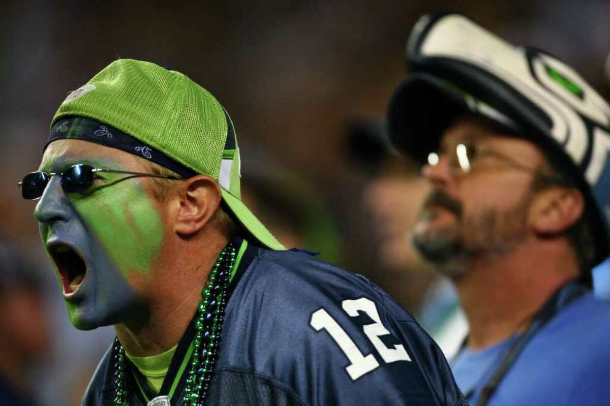A Seattle Seahawks fan supports his team against the Oakland Raiders at CenturyLink Field in Seattle.