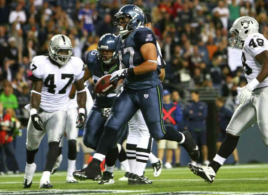 Seattle Seahawks running back Vai Taua (47) jogs into the end zone for a second-half touchdown against the Oakland Raiders. Photo: JOSHUA TRUJILLO / SEATTLEPI.COM