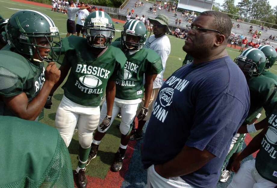 Bassick Head Coach Derrick Lewis during a boys football scrimage at McMahon High in Norwalk, Conn. on Saturday September 3, 2011. Photo: Christian Abraham / Connecticut Post