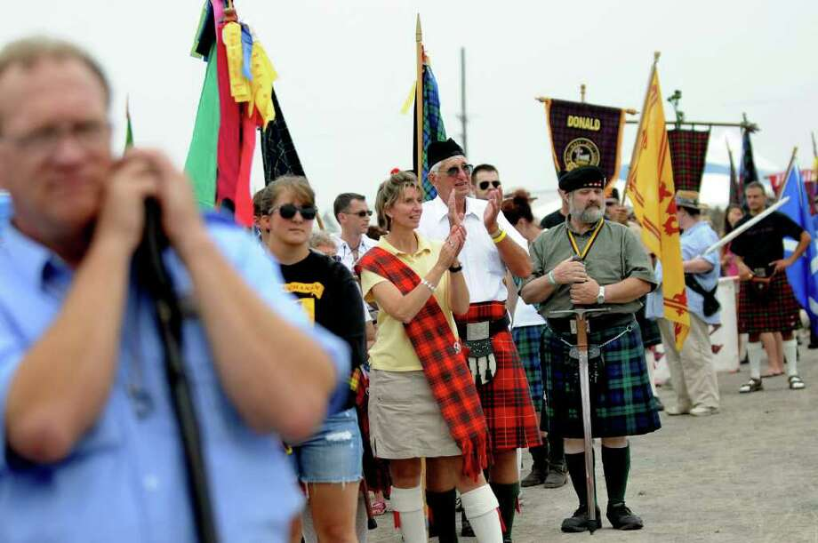 Scottish clans prepare to parade past the grandstand during the Scottish Games on Saturday, Sept. 3, 2011, at Altamont Fairgrounds in Altamont, N.Y. (Cindy Schultz / Times Union) Photo: Cindy Schultz