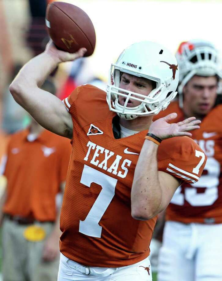 Garrett Gilbert warms up in the pregame as the Texas Longhorns play the Rice Owls at Darrell K. Royal memorial Stadium on September 3, 2011.  Tom Reel/Staff Photo: TOM REEL, Express-News / © 2011 San Antonio Express-News