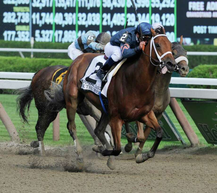 Ask the Moon with jockey Javier Castellano up wins the 64th running of The Personal Ensign Invitational at the Saratoga Race Course in Saratoga Springs, N.Y. Sept 3, 2011.    (Skip Dickstein / Times Union) Photo: SKIP DICKSTEIN
