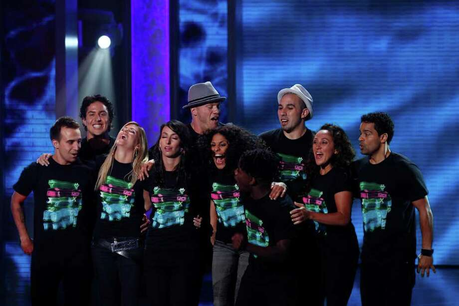 "Team iLuminate learns that it's in the finals of ""America's Got Talent."" Lindsey Blaufarb is fourth from left. Photo: Trae Patton, NBC"