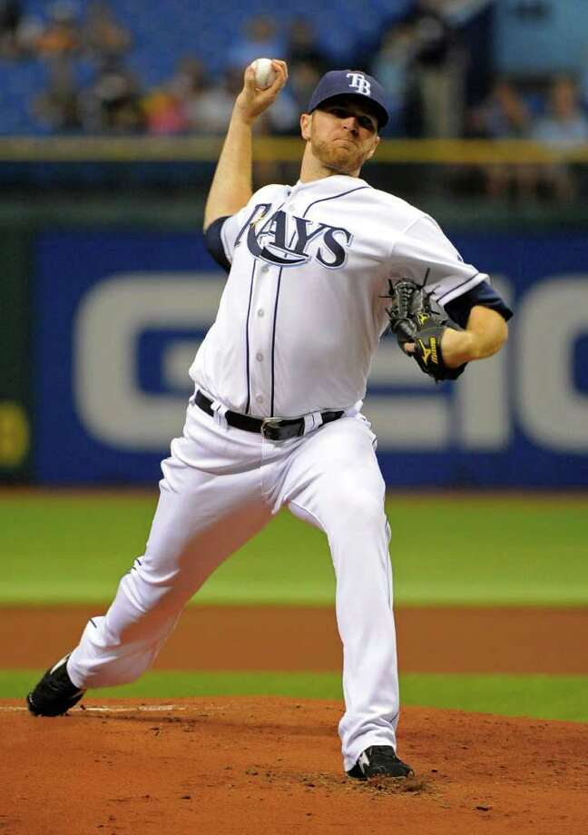 Tampa Bay Rays pitcher Wade Davis delivers to the Baltimore Orioles during the first inning of a baseball game Saturday, Sept. 3, 2011, in St. Petersburg, Fla. (AP Photo/Brian Blanco) Photo: Brian Blanco, FRE / FR1701907 AP