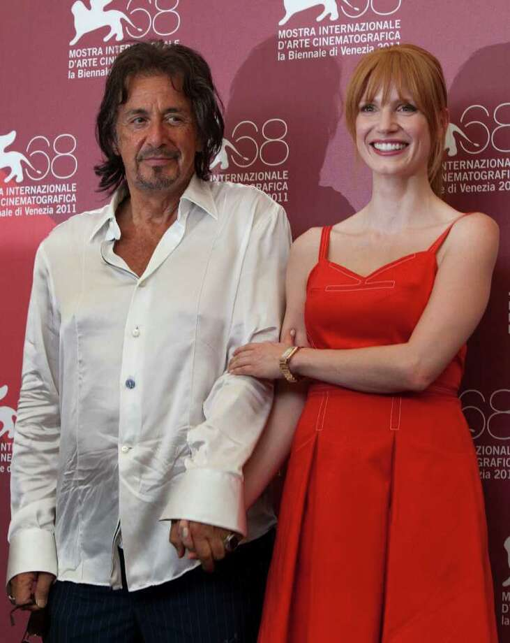 Actor Al Pacino and actress Jessica Chastain pose during a photo call for the movie Wilde Salome at the 68th edition of the Venice Film Festival in Venice, Italy, Sunday, Sept. 4, 2011. (AP Photo/Domenico Stinellis) Photo: Domenico Stinellis
