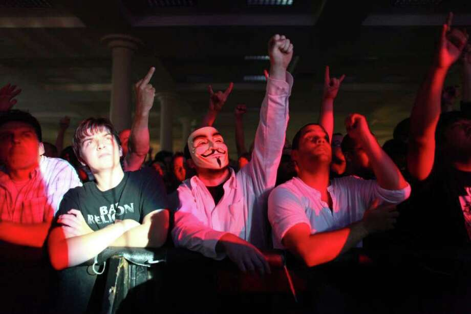 Fans watch Atari Teenage Riot performs at the Exhibition Hall. Photo: JOSHUA TRUJILLO / SEATTLEPI.COM