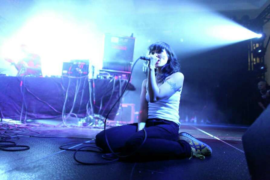 Nic Endo of Atari Teenage Riot performs at the Exhibition Hall.