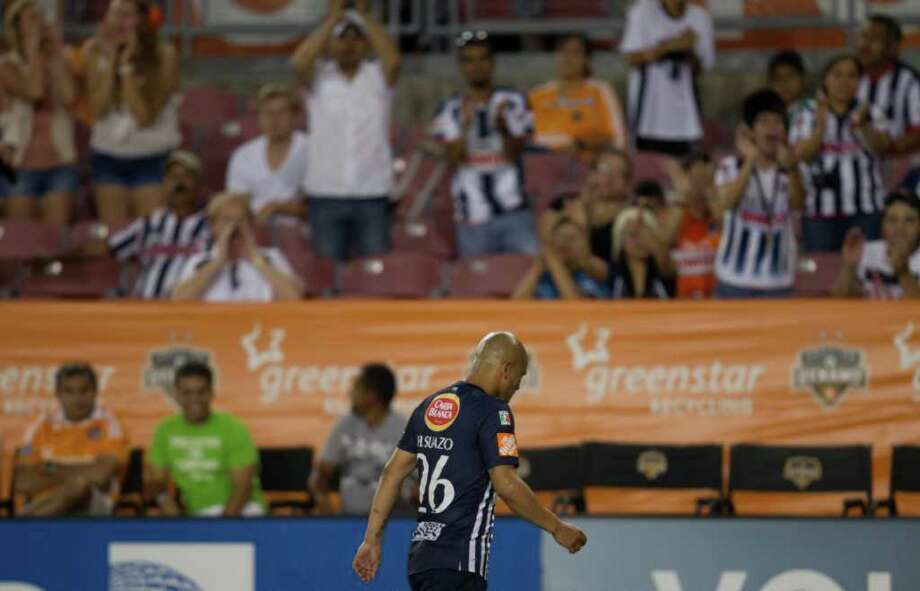 CF Monterrey forward Humberto Suazo is sent off for the secondejection of a Monterrey player during the first half. Photo: Smiley N. Pool, Houston Chronicle / © 2011  Houston Chronicle