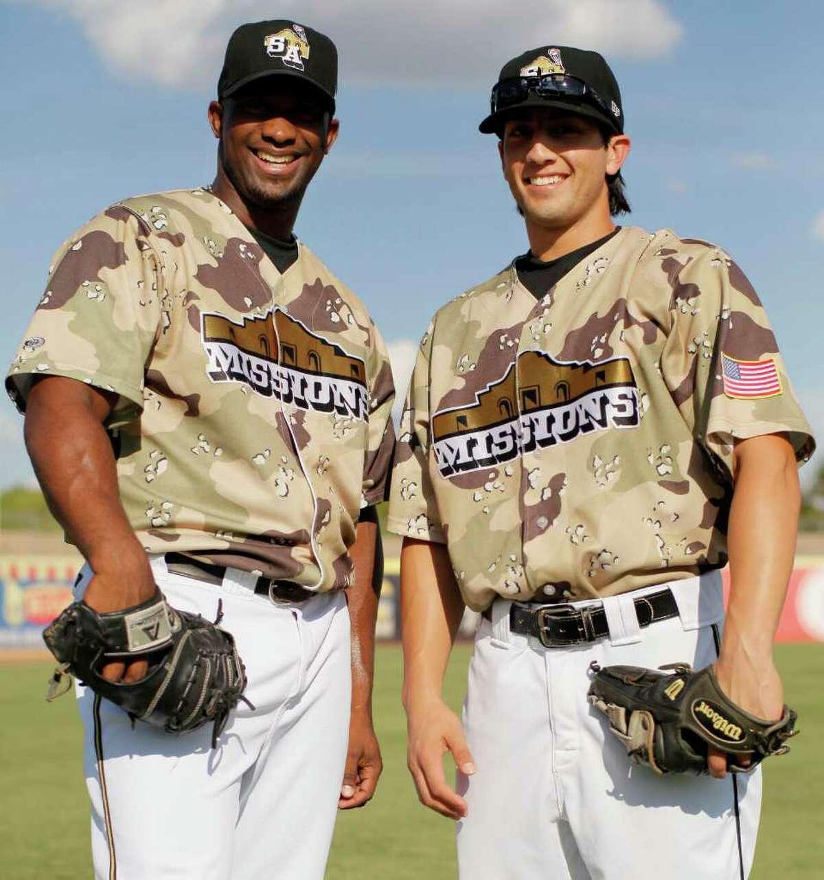 San Antonio Missions' Carlos Sosa, left, and Amadeo Zazueta pose before a Texas League baseball game, Sunday, Aug. 21, 2011, in San Antonio.