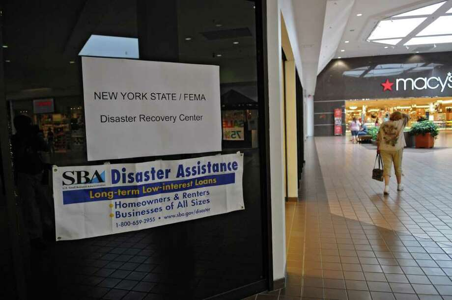 View of the entrance to the FEMA Disaster Recovery Center  in Rotterdam Square Mall on Sunday Sept. 4, 2011 in Rotterdam, NY.  (Philip Kamrass / Times Union) Photo: Philip Kamrass / 00014512A