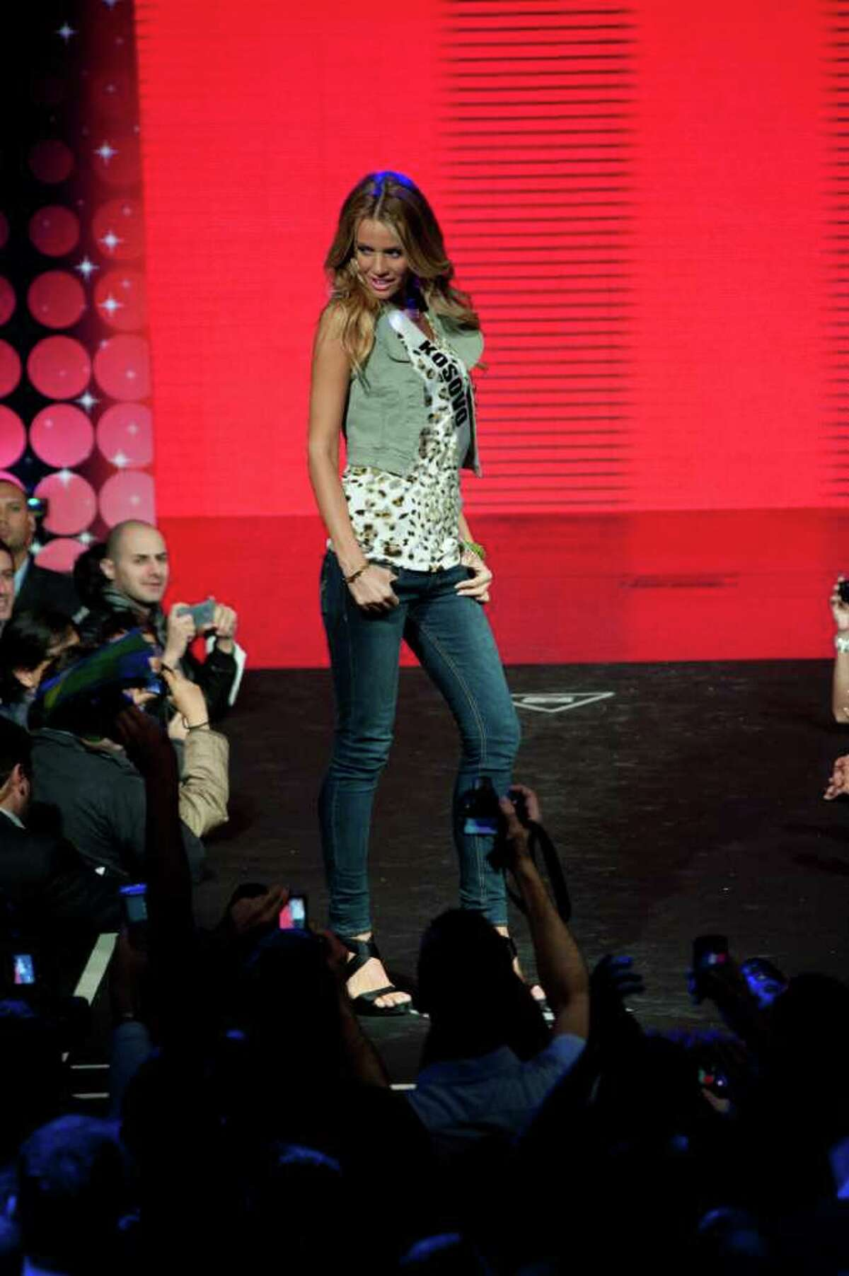Miss Kosovo 2011, Aferdita Dreshaj, walks the runway during a fashion show at The Week nightclub in Sao Paulo, Brazil on Saturday, Sept. 3, 2011. The 2011 Miss Universe competition is scheduled to be held on Sept. 12. (AP Photo/Miss Universe Organization, Patrick Prather)