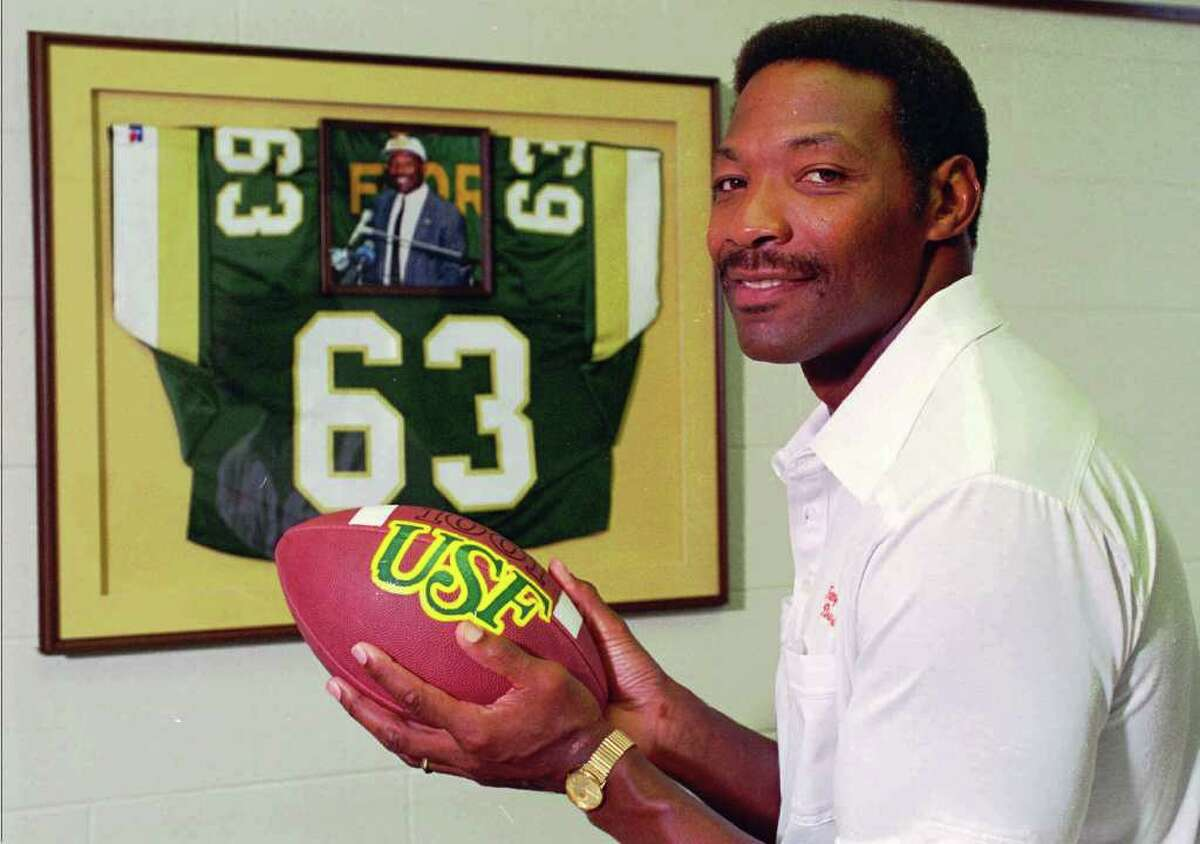 FILE - In this file photo taken July 24, 1995, NFL Hall of Fame defensive end Lee Roy Selmon poses for a portrait in Tampa, Fla. The Tampa Bay Buccaneers confirmed Saturday, Sept. 3, 2011, that he suffered a stroke. Selmon, also a star lineman at the University of Oklahoma, once served as athletic director for the University of South Florida, and its football players wore his old number on their helmets for their victory at Notre Dame. (AP Photo/Karen Fletcher, File)